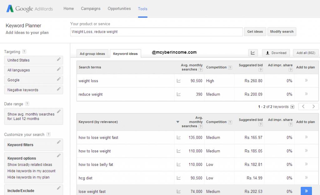 Find Profitable Niche with Google AdWords Keyword Planner