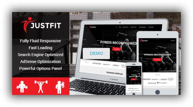 justfit fitness wordpress themes