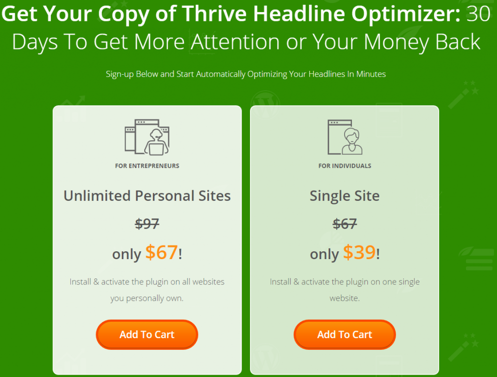 thrive headline optimizer pricing