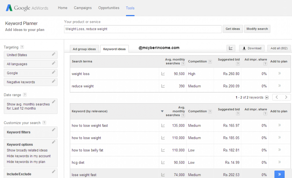 Find Profitable Niche with Google AdWords Keyword Planner