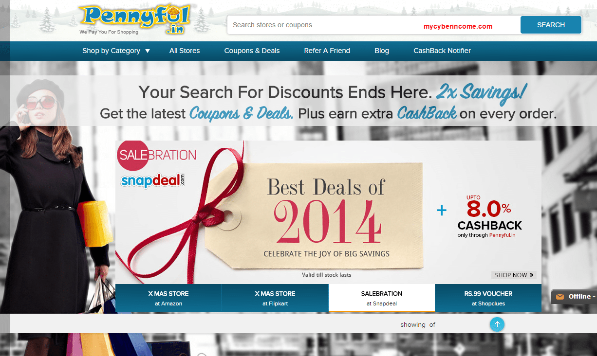 CashBack and Online Coupons for Shopping Discounts at Pennyful.in