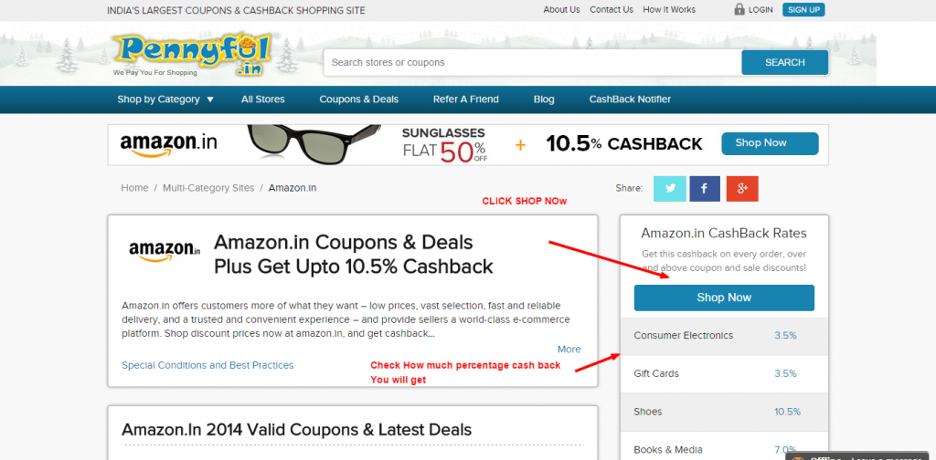 mycyberincome Amazon.in CashBack Amazon.in Coupons Discounts Online Shopping Pennyful.in