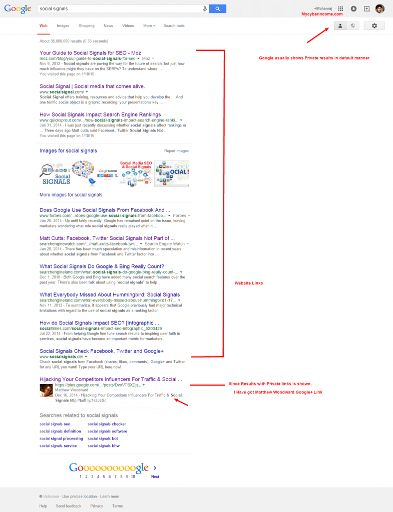 social signals Google Search