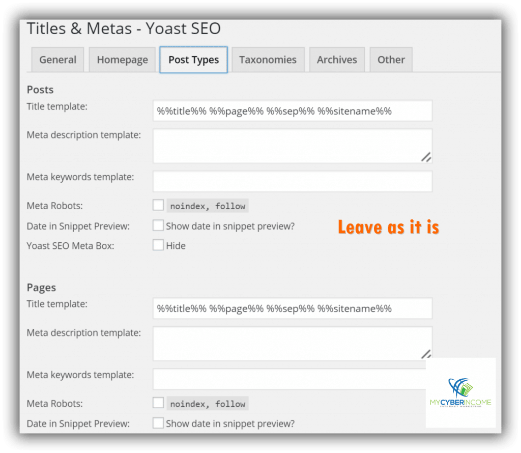 tile and metas - yoast seo plugin configuration