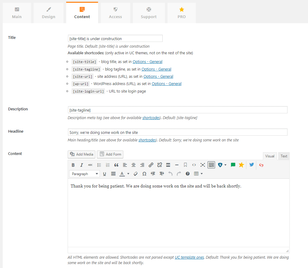 Under Construction Page - Best Maintenance Page Plugin? 4